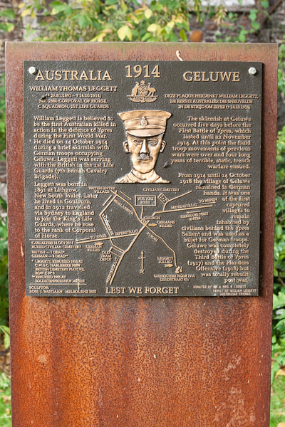 Memorial at Geluwe to Private William Thomas Leggett who is believed to be one of the first Australian soldiers to be killed in The Great War.