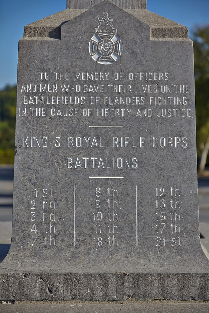 King's Royal Rifle Corps Memorial - WW1 Cemeteries com - A